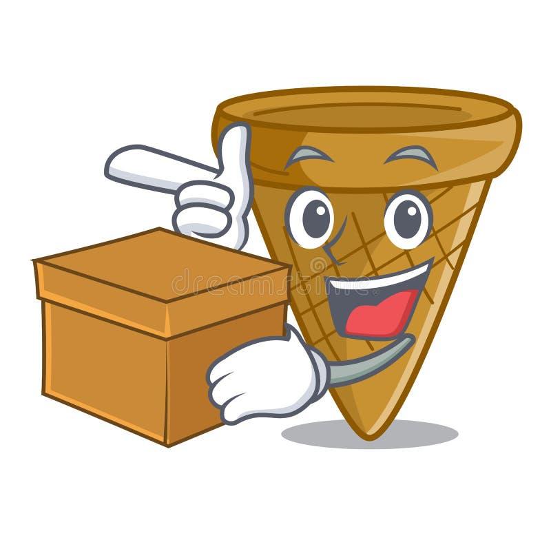 Z pudełkowatym kreskówka lody opłatka rożkiem royalty ilustracja