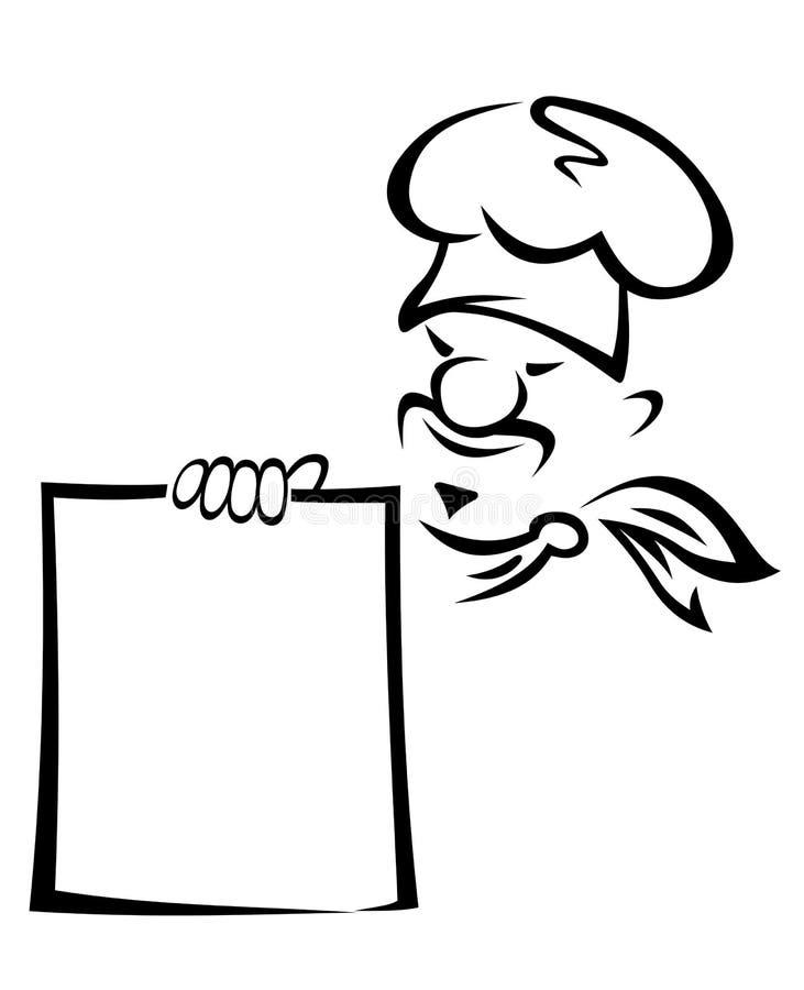 Z pustym menu azjatycki szef kuchni ilustracja wektor