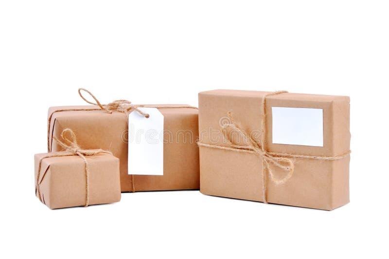 Z pustymi etykietkami trzy etykietka pakunku zdjęcia royalty free