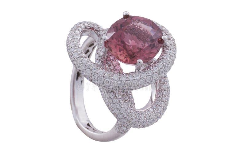Z różowym szafirem złoty pierścionek fotografia stock