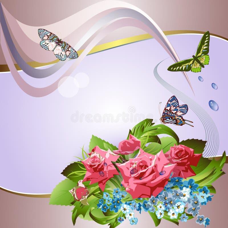Z różowymi różami elegancki tło ilustracja wektor