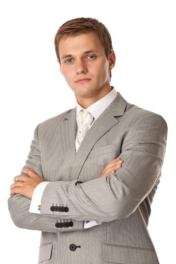 Z rękami mężczyzna młoda atrakcyjna pozycja krzyżował zdjęcie stock