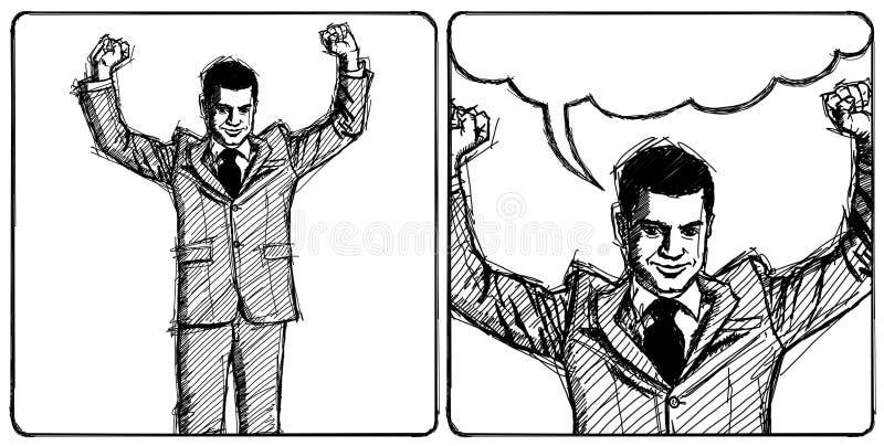 Z rękami ręka nakreślenie biznesmen ilustracja wektor