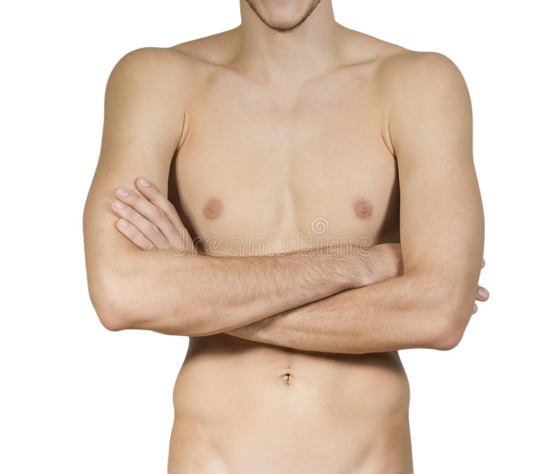Z rękami składać mięśniowy bez koszuli młody człowiek fotografia stock