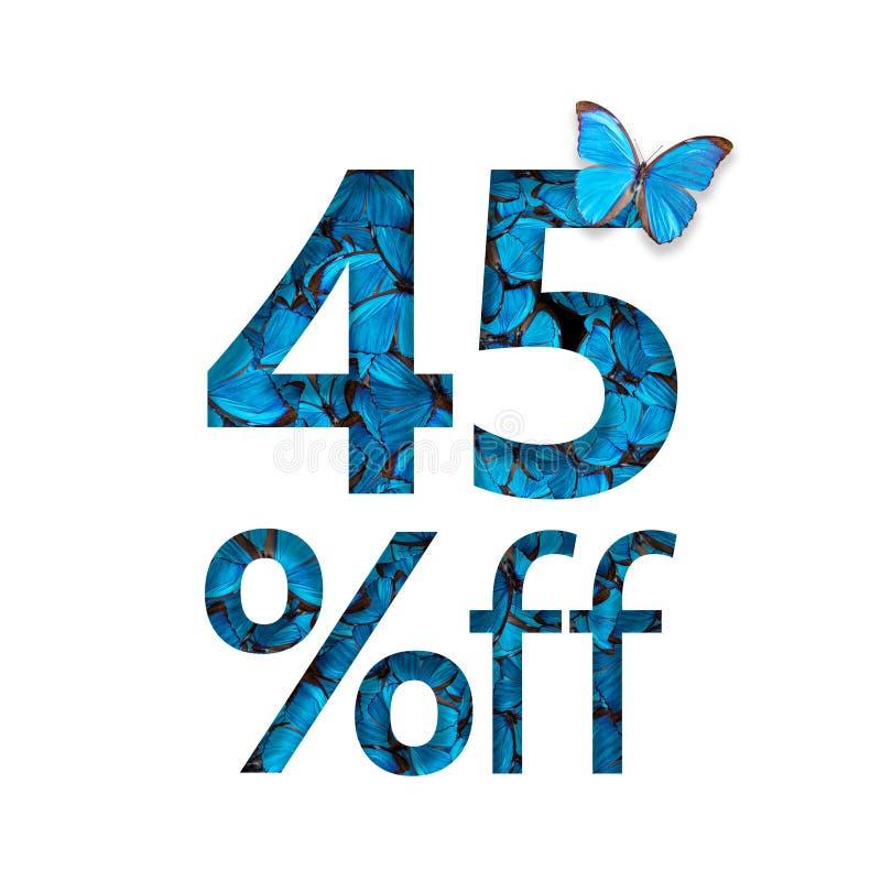 45% z rabata Pojęcie wiosna lub sammer sprzedaż, elegancki plakat, sztandar, promocja, reklamy ilustracja wektor