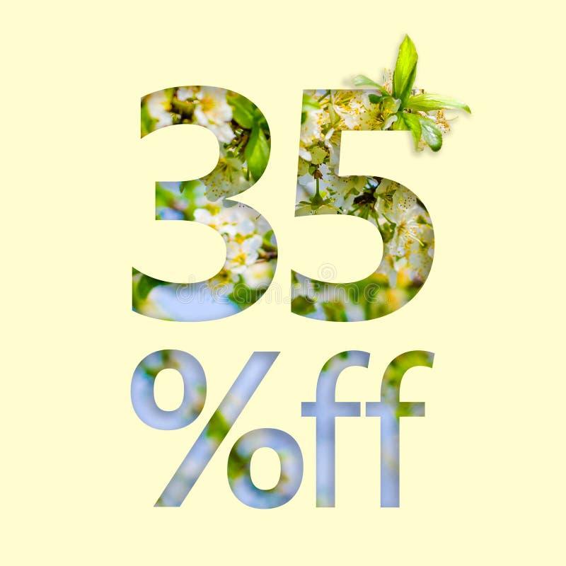 35% z rabata Pojęcie wiosny sprzedaż, elegancki plakat, sztandar, promocja, reklamy royalty ilustracja