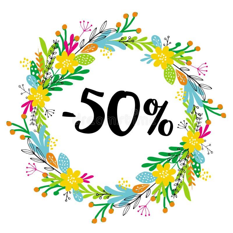 50% z rabata sprzedaż Kwiecisty wektorowy wianek Czarny tekst royalty ilustracja