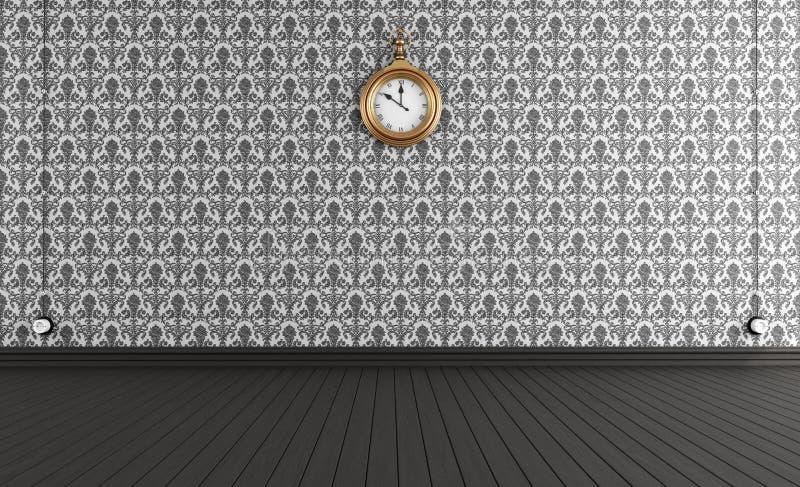Z rocznika zegarem stary stylowy pokój ilustracja wektor
