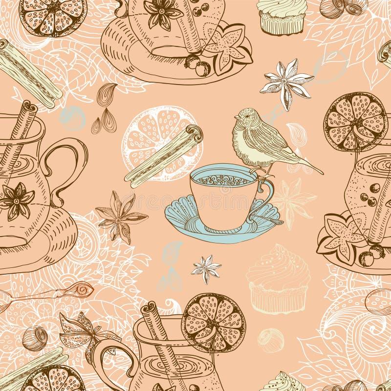 Z rozmyślającym ciepłym winem doodle bezszwowy tło