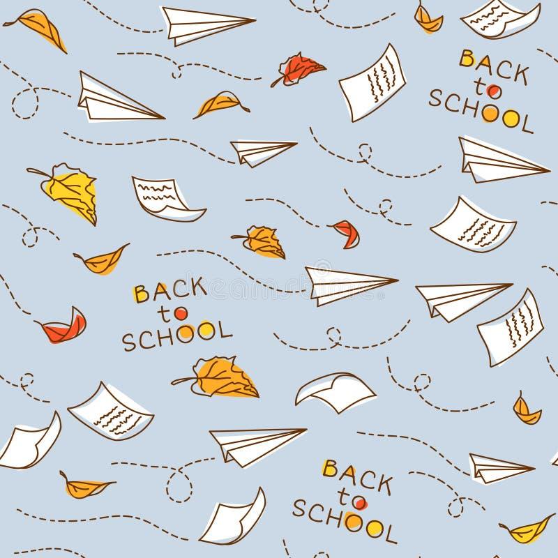 Z samolotami bezszwowy wzór tylna szkoły ilustracji