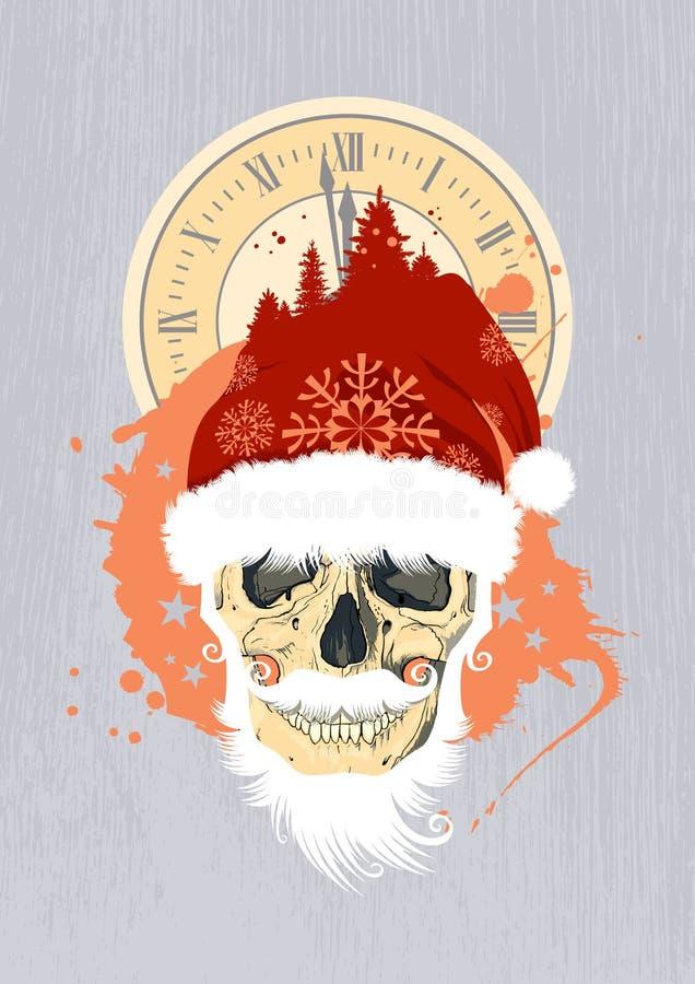 Z Santas czaszką nowego roku projekt. royalty ilustracja