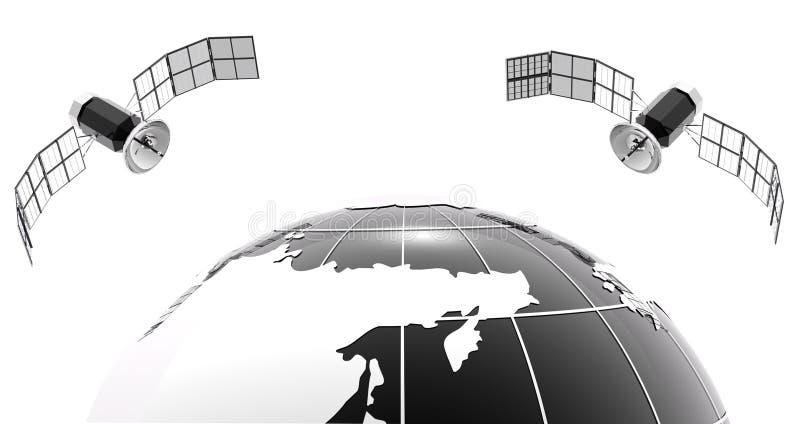 Z satelitą bw klasyczna kula ziemska 2 ilustracja wektor