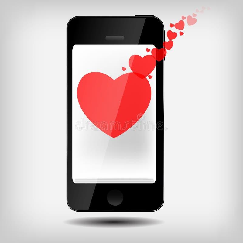 Z serce wektorem abstrakcjonistyczny telefon komórkowy ilustracji