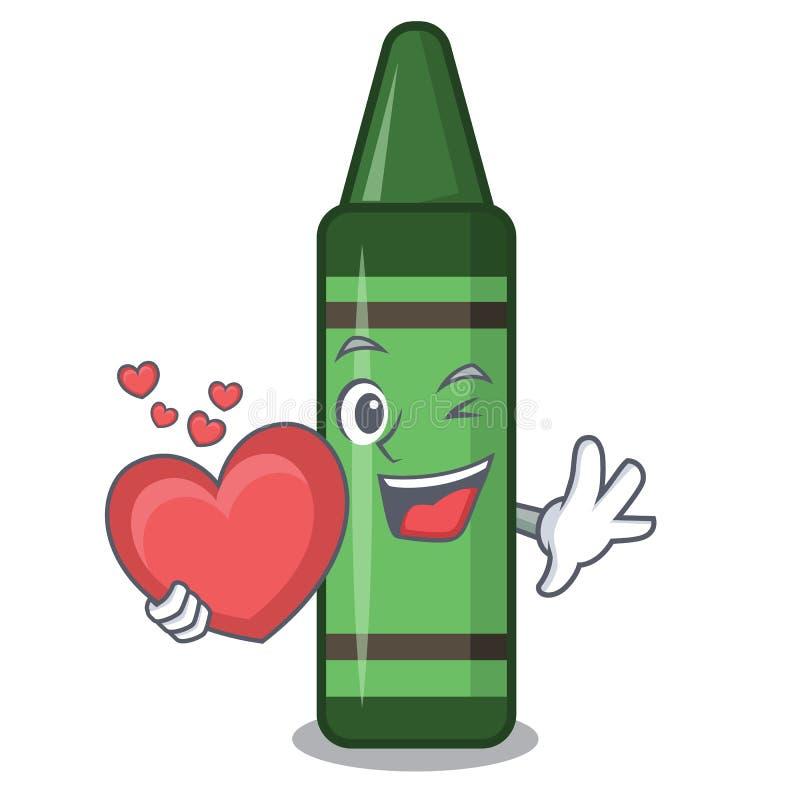Z serce zieleni kredką w maskotka kształcie ilustracja wektor