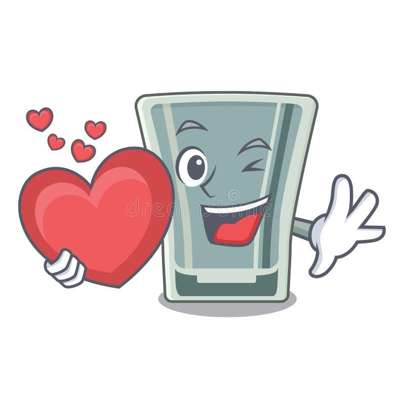 Z sercem strzelał szklanego charakteru w fridge ilustracji