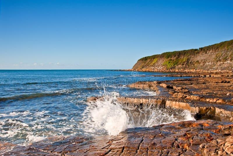 Z skałami Podpalany Kimmeridge seascape zdjęcie stock