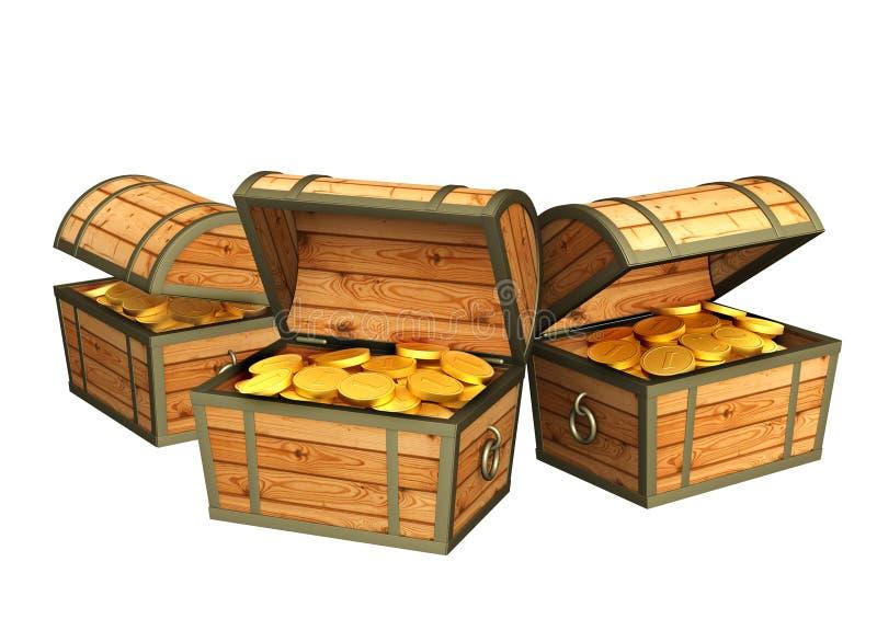 Z skarbami trzy drewnianego pudełka royalty ilustracja