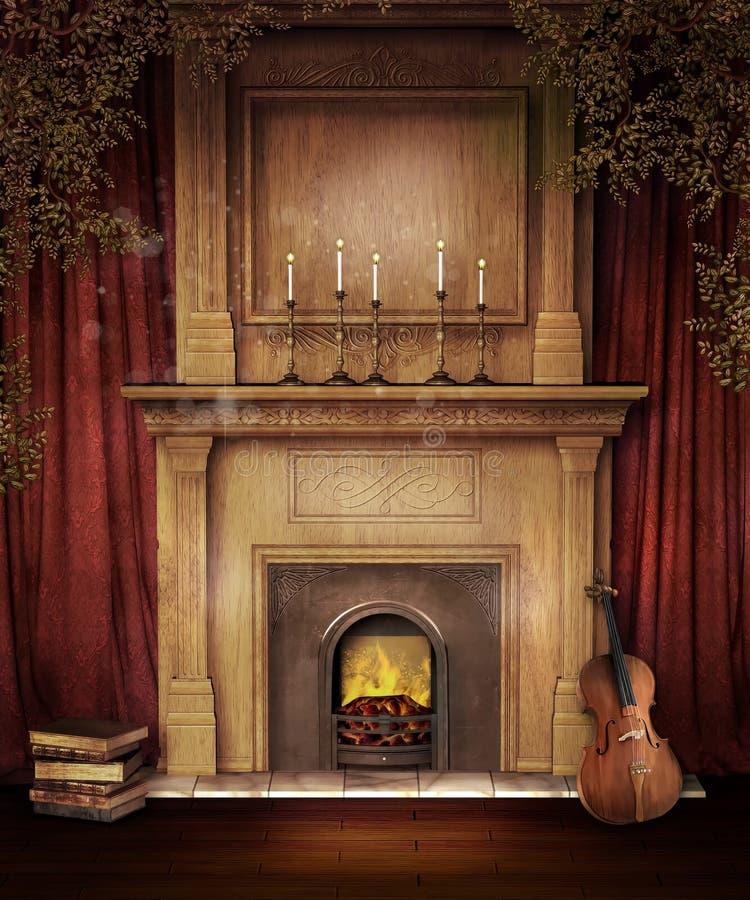 Z skrzypce stary kominek royalty ilustracja
