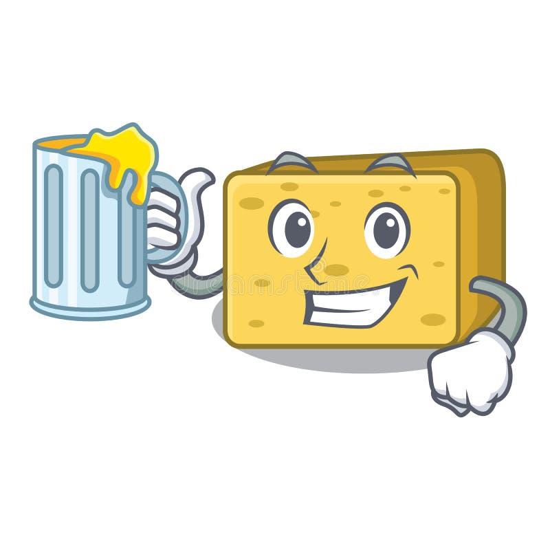 Z sokiem gouda ser składa kreskówkę ilustracji