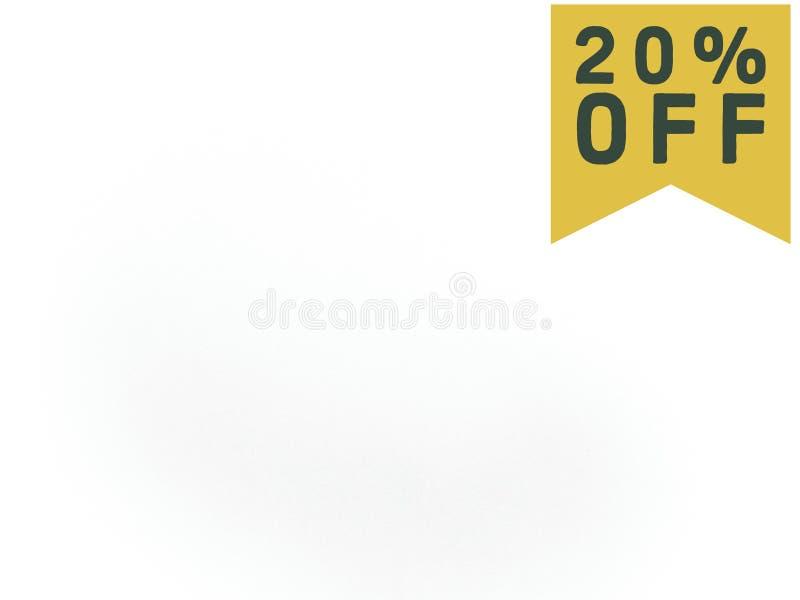 20% z sprzedaży etykietki na białym tle ilustracja wektor