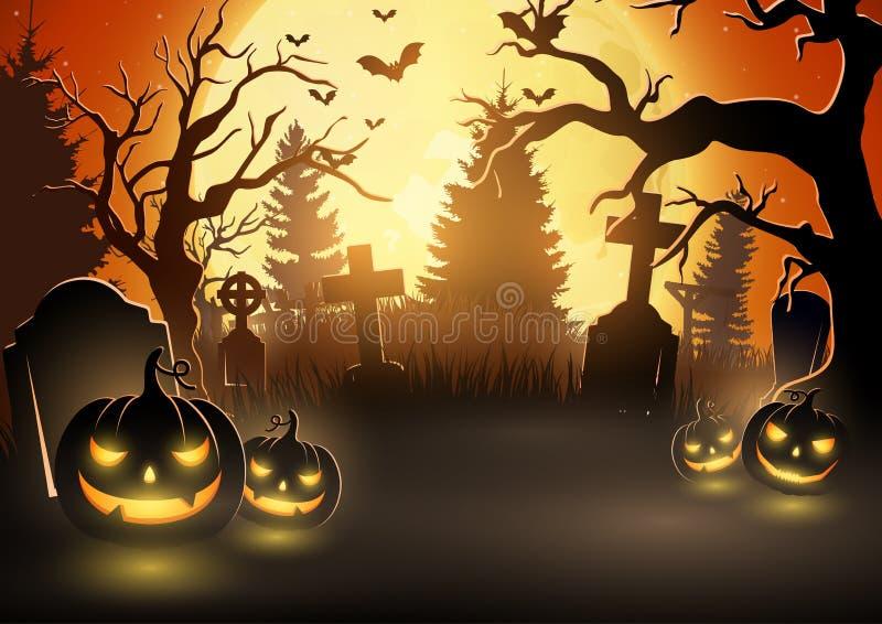 Z strasznymi baniami halloweenowy tło ilustracja wektor