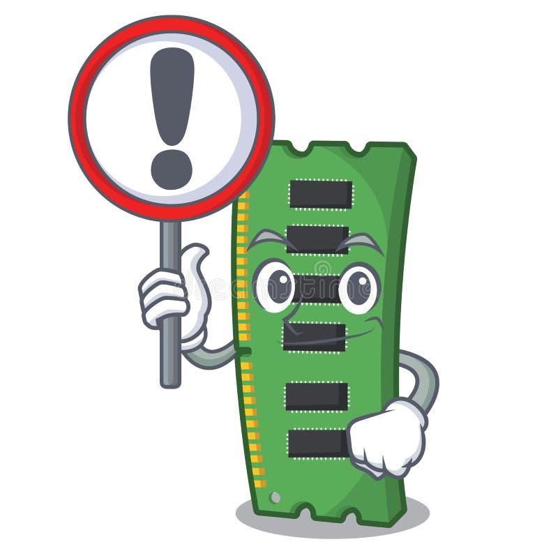 Z szyldową RAM kartą pamięci odizolowywającą w kreskówce ilustracji
