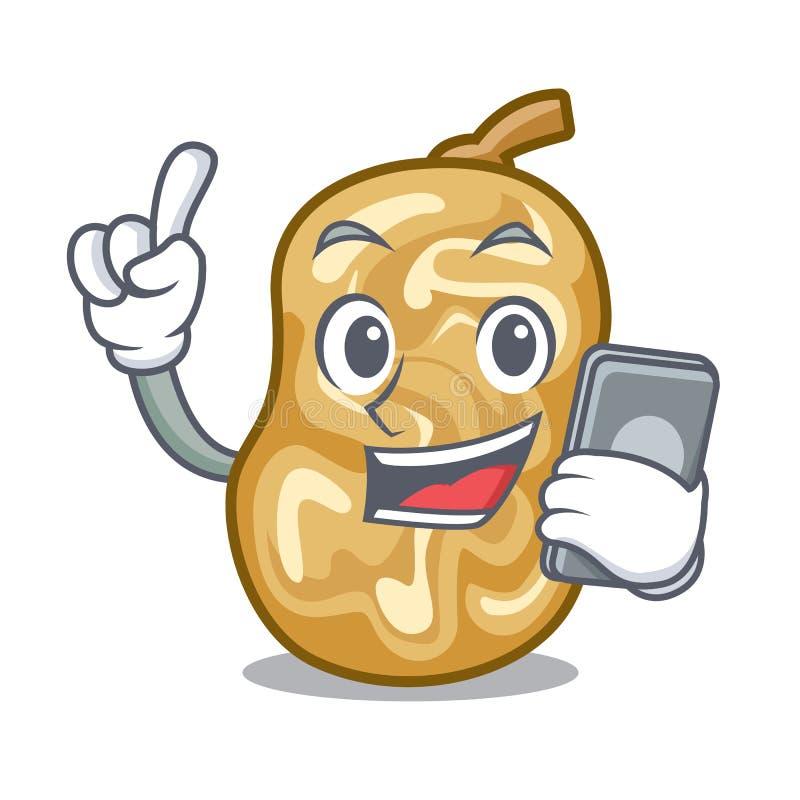Z telefon rodzynkami w kreskówka puchar ilustracja wektor