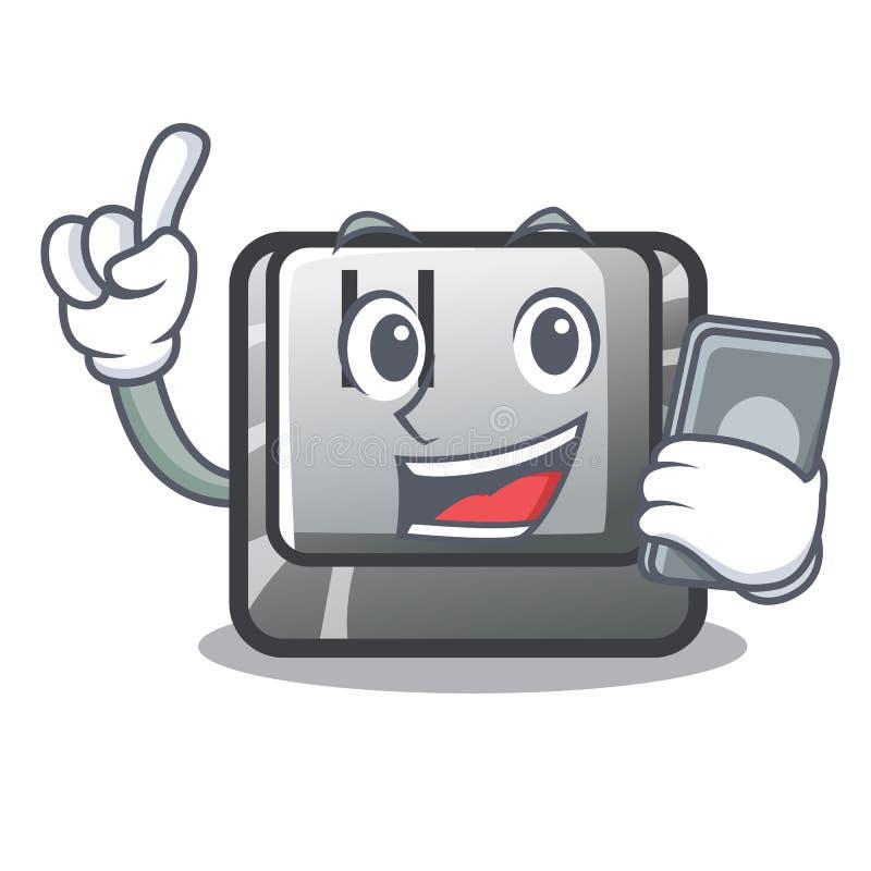 Z telefonu H guzikiem instalującym w kreskówki grą ilustracji