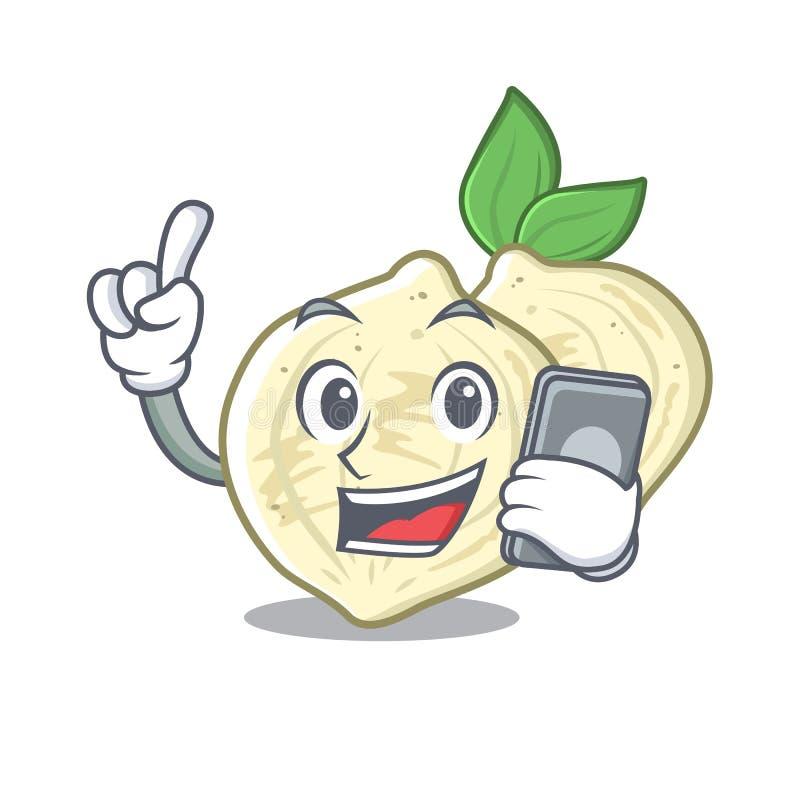 Z telefonu jicama w z odosobnioną maskotką ilustracji