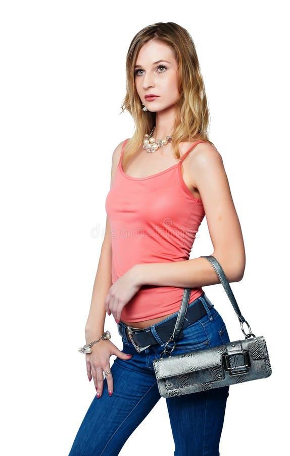 Z torbą piękna kobieta zdjęcia royalty free