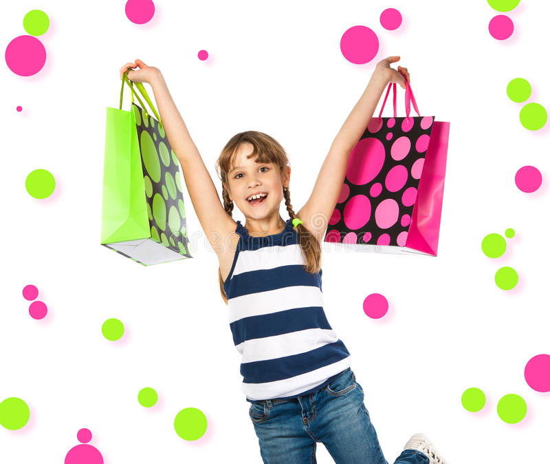 Z torba na zakupy szczęśliwa nastoletnia dziewczyna zdjęcia stock