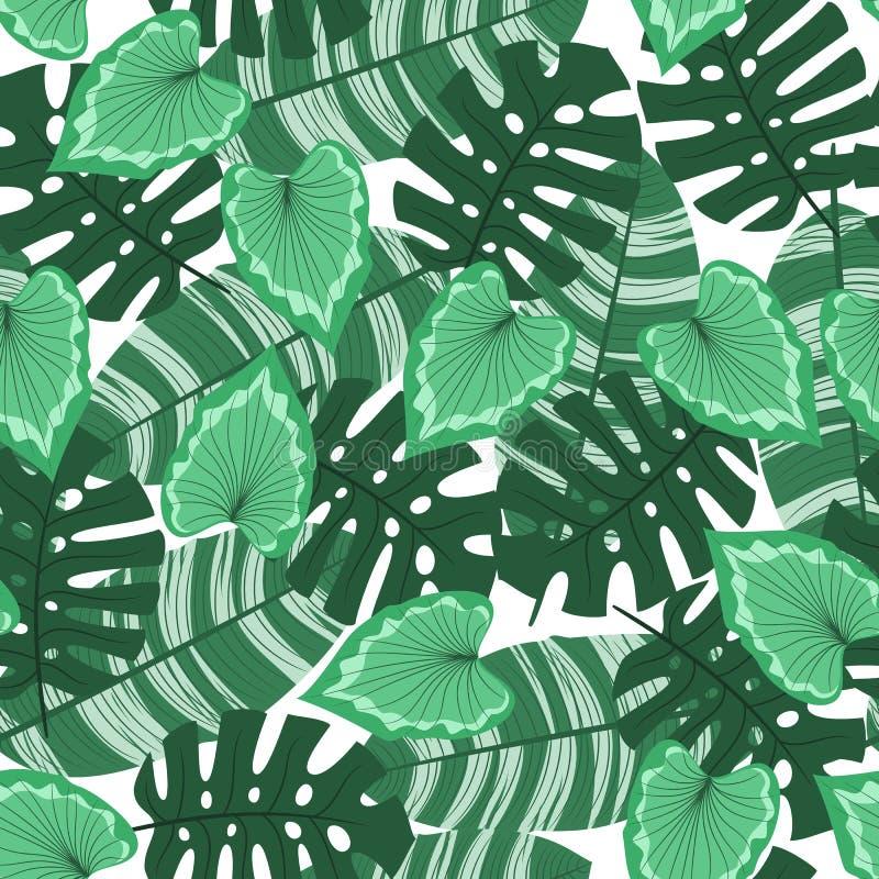 Z tropikalnymi liść bezszwowy wzór ilustracja wektor
