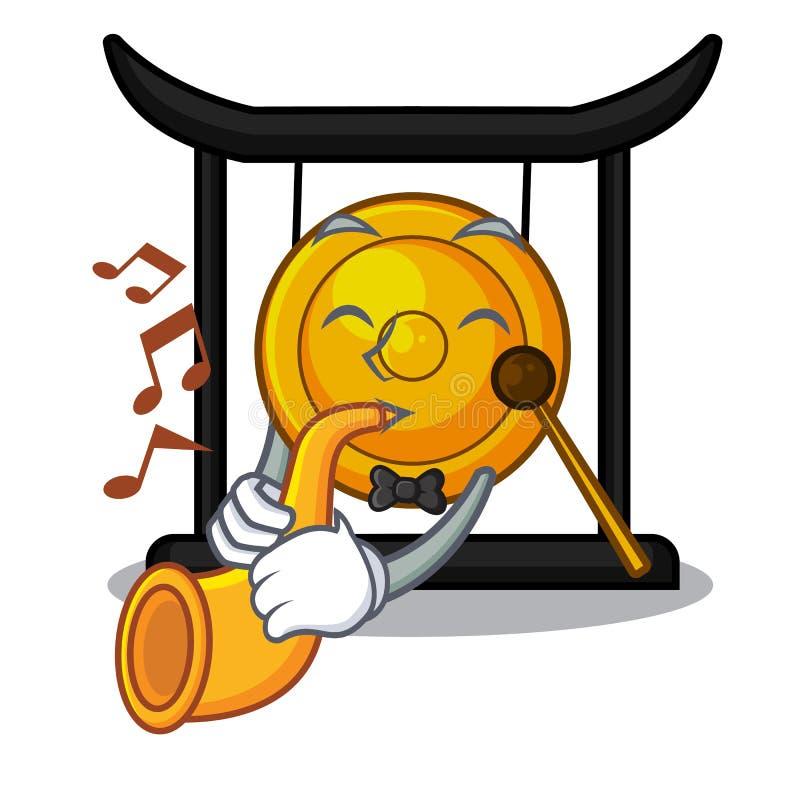 Z tubowym złotym gongiem odizolowywającym z maskotką ilustracji