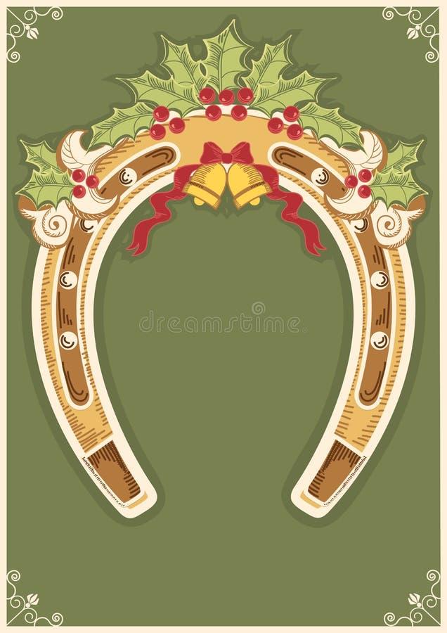 Z uświęconą jagodą podkowy bożenarodzeniowa karta ilustracji