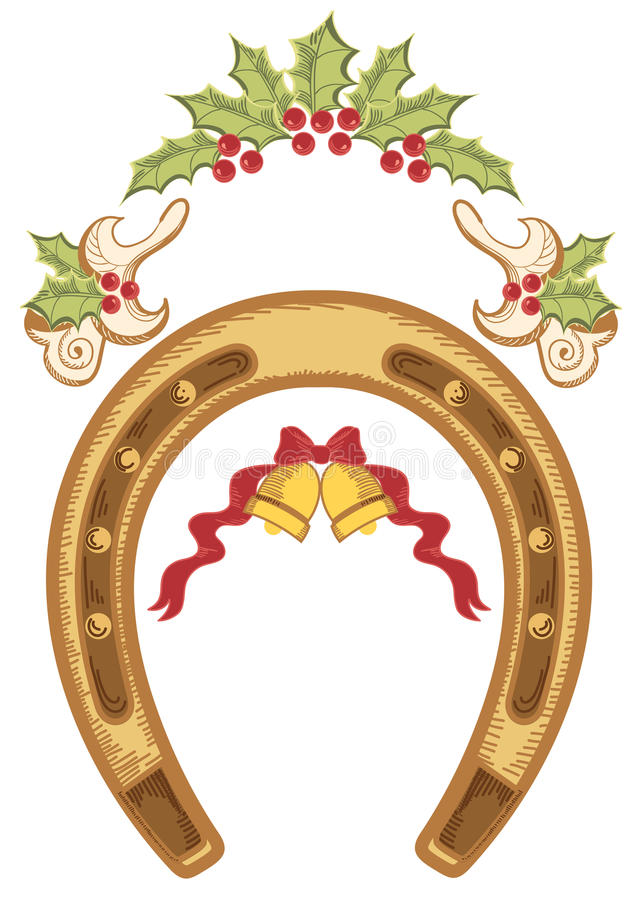 Z uświęconymi jagodowymi liść bożenarodzeniowa podkowa ilustracji