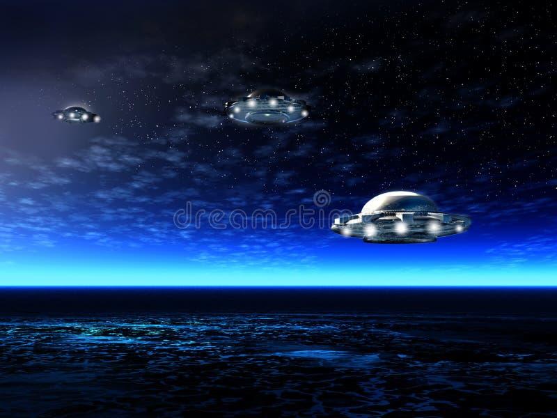 Z UFO noc krajobraz ilustracji