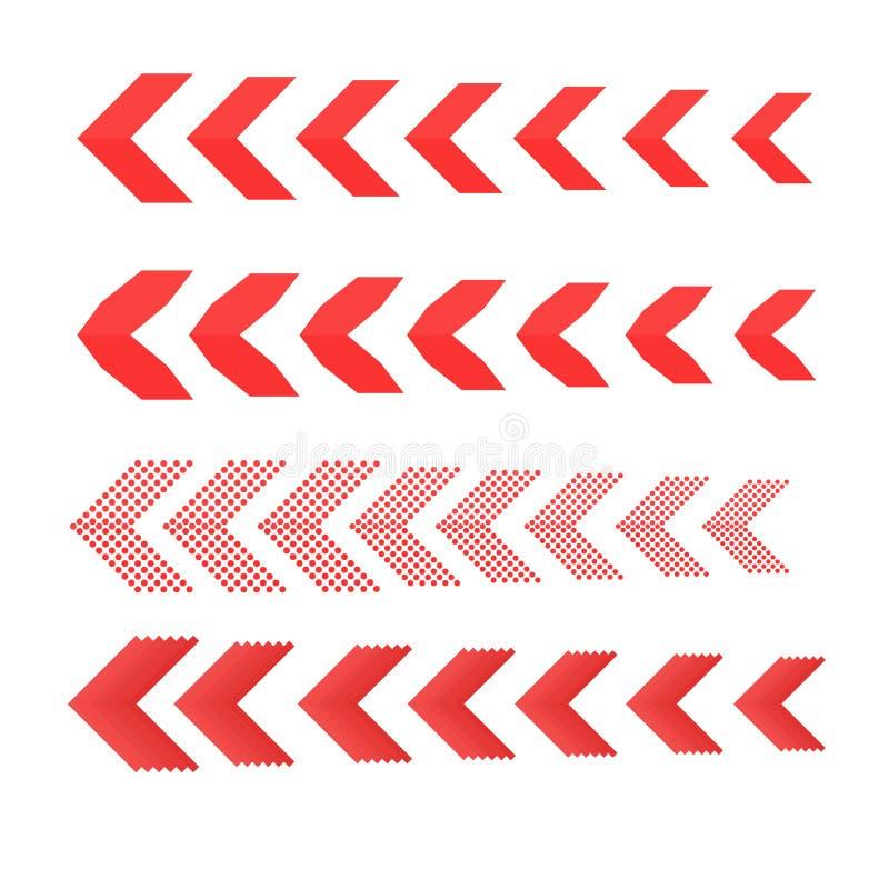 Z ukosa set Liniowi znaki inkasowi Strzałkowaty projekt cztery elementu dla twój projekta Pasiasty kierunek ilustracji