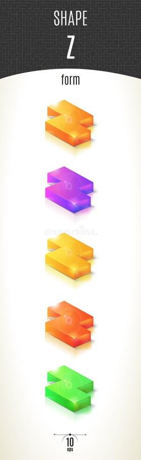 Z-vorm glanzend 3D-deel op witte die achtergrond in verschillende kleuren wordt geplaatst stock foto