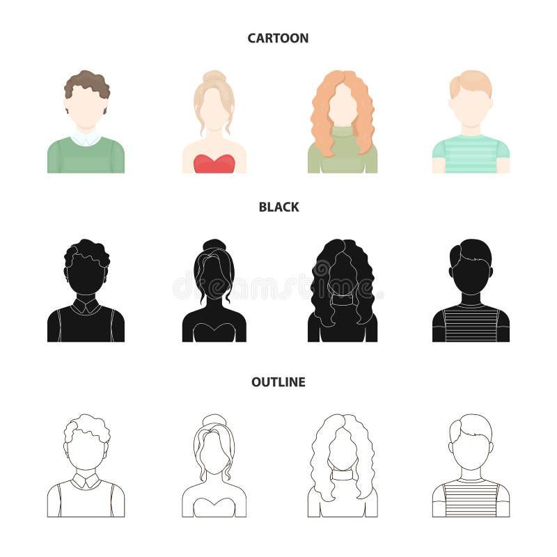 Z włosami chłopiec, blondyn, miedzianowłosy, nastolatek Avatar ustalone inkasowe ikony w kreskówce, czerń, konturu stylowy wektor ilustracji