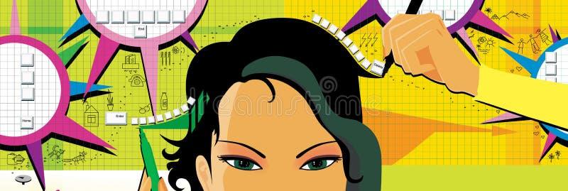 Z włosami dziewczyna pisze tekstach z dwa rękami ulepszać móżdżkowego rozwój, rysuje i funkcji i pamięci na żółtej zieleni royalty ilustracja