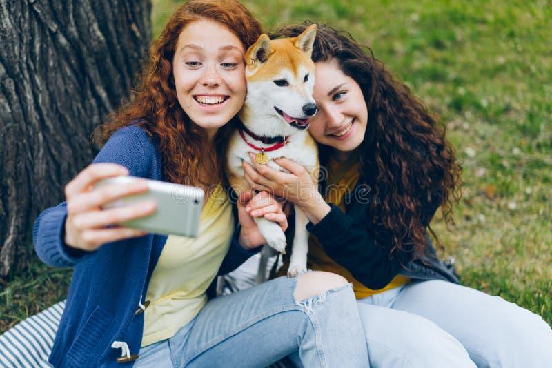 Z włosami dziewczyny bierze selfie w parkowego przytulenia pięknym psim używa smartphone obrazy stock