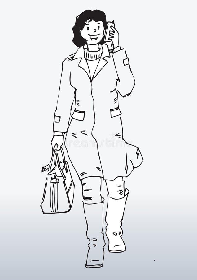 Z wiszącą ozdobą kreskówki kobieta ilustracji