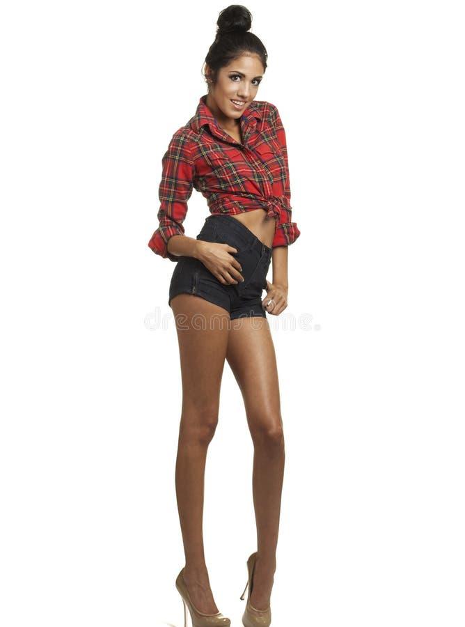 Z wspaniałymi długimi nogami moda wysoki model fotografia stock