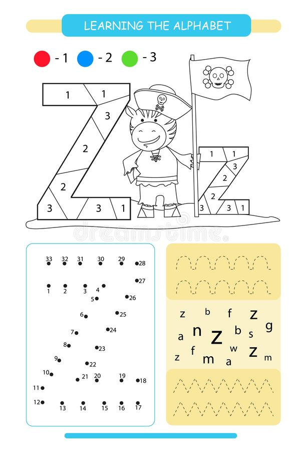 Letter Z and funny cartoon zebra. Animals alphabet a-z. Coloring page. Printable worksheet. Handwriting practice. Connect the dots. Letter Z and funny cartoon stock illustration