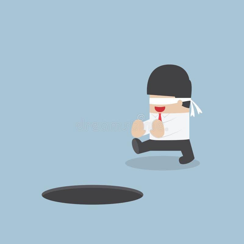 Z zasłoniętymi oczami biznesmena odprowadzenie w dziurę ilustracji