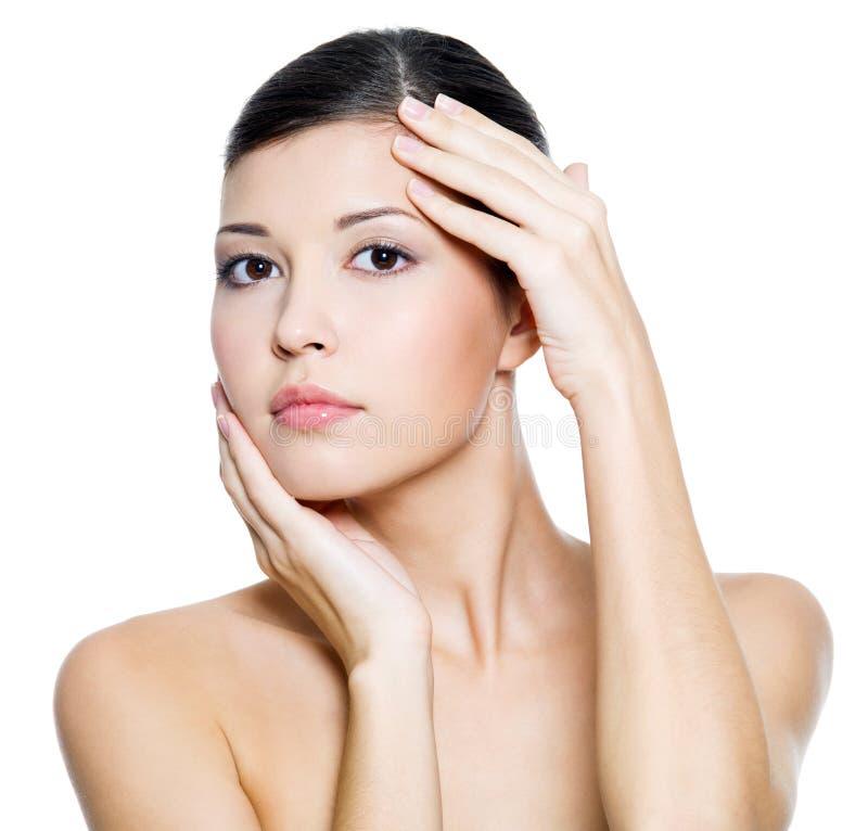Z zdrowie piękna kobieta czyścić skórę obraz royalty free