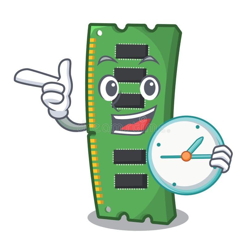 Z zegarową RAM kartą pamięci maskotka kształt ilustracja wektor