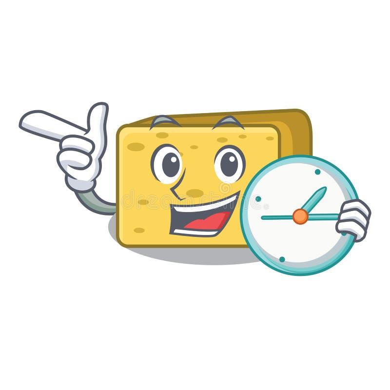 Z zegarowego charakteru gouda świeżym serem ilustracja wektor