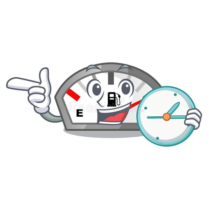 Z zegarowym benzyna wskaźnikiem odizolowywającym z kreskówką w ilustracji