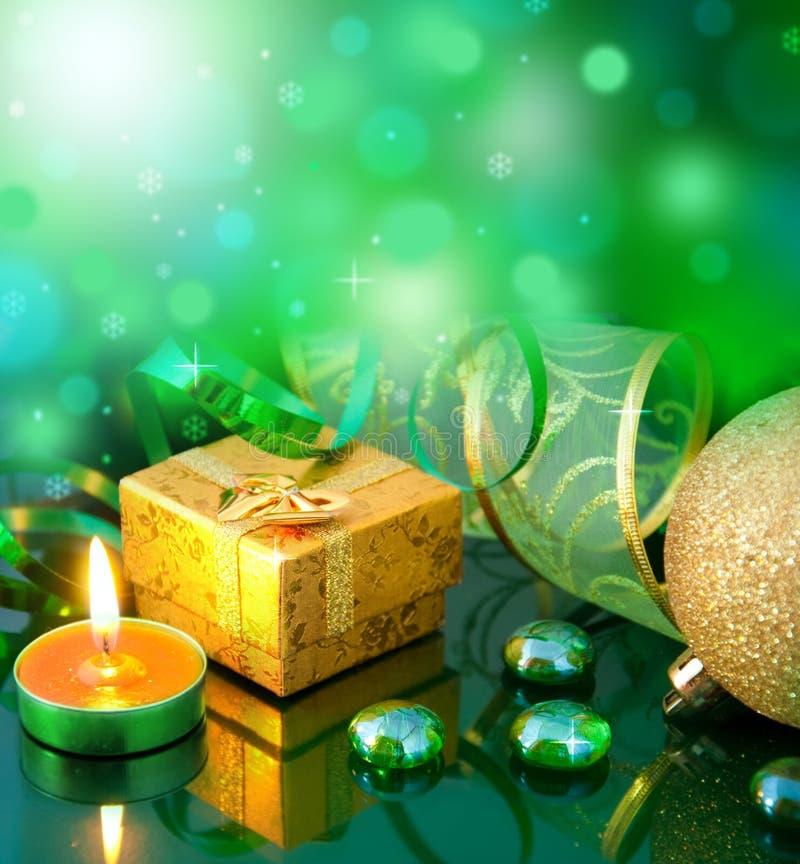Z zielonymi piłkami nowy rok karta fotografia royalty free